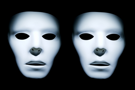 apparition: Two ghost like faces on a black background. Stock Photo