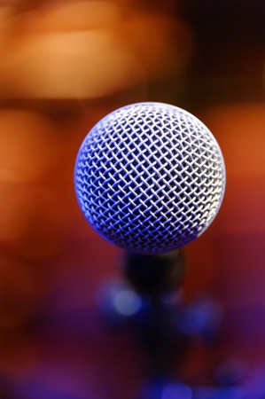 Closeup of a microphone at a musical concert. Stock Photo