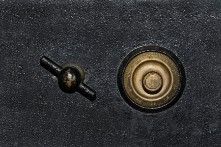 Black and gold antique vintage safe background.