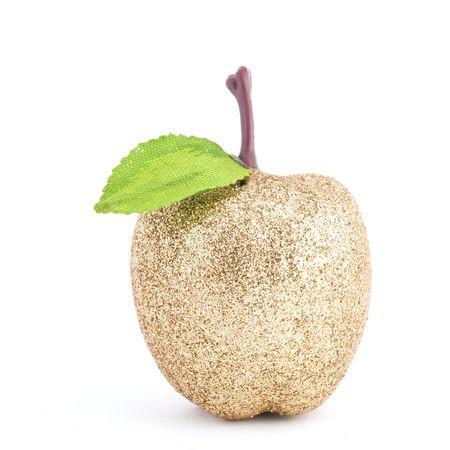shaped: golded apple shaped christmas ornament   Stock Photo