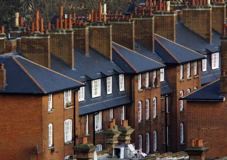 south london: Image showing a row of houses in south london from above Stock Photo