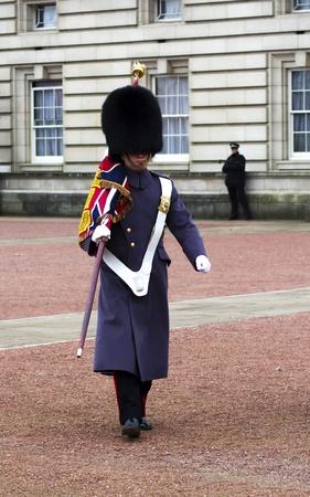 Image of two royal gaurds changing shift outside buckingham palace, uk Stock Photo - 8913177