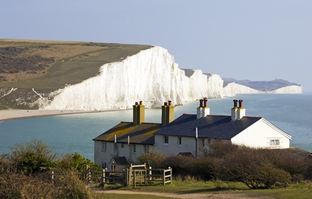 dover: Image of the Coast Guard Cottages & Seven Sisters just outside Eastbourne, England