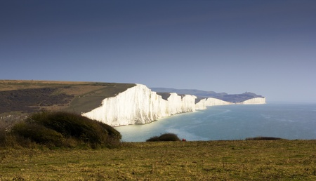 dover: Image of White cliffes on the english channel coast line.