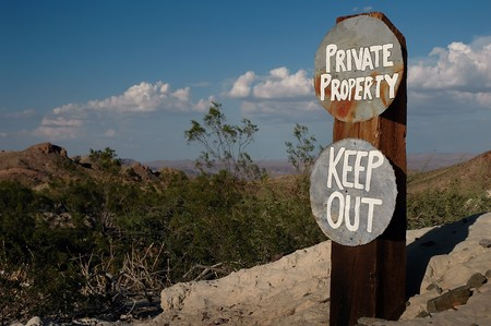 keep out: Home made signs for private property and keep out.