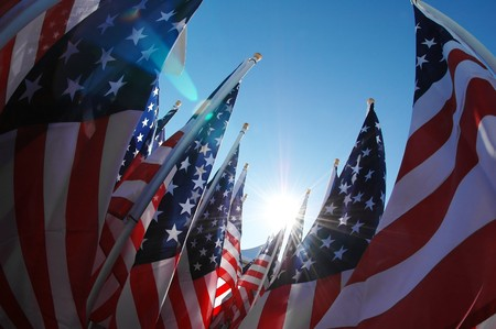 Inside view of many US flags Stock Photo - 7003833