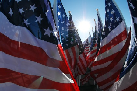 Inside view of many US flags