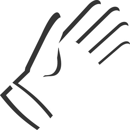 Hand Glove Silhouette - Ambiguous - Determined Horse. Optical Illusion. Latex Rubber Cleaning Protection. Muzzle, Mane, Fierce Confident Successful Eye. Fingers, Thumb Sleeve Cuff. Outline Shadow.