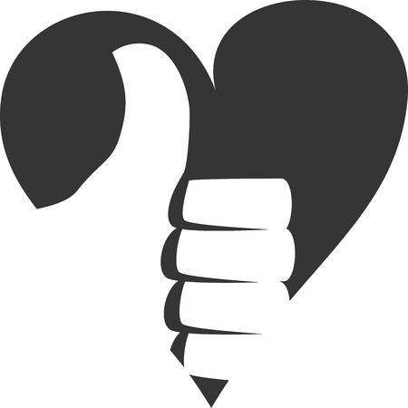 Positive Thumbs Up Heart Approve Creative Vector Icon Shape. Five-star Service and Ratings. Customer and Client Care. Award Symbol for Achievement. Sign for Good Job at Work and Well Done at School. Button for Satisfied and Love for Service. Tips.