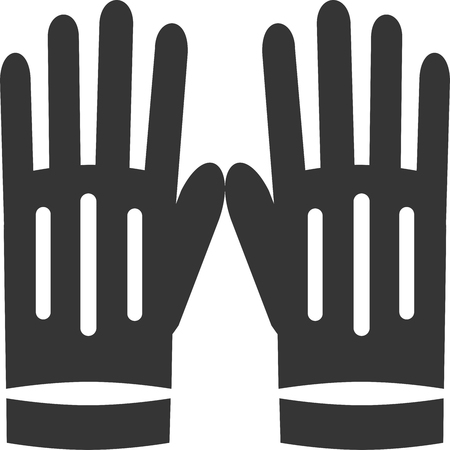 Rubber - Leather - Fabric Gloves. Sign or Label Element for Hand Protection Safety Wear Supply for Driving, Work, Fashion, Gardening, Household, Dishes Cleaning, Construction and Industrial Professional Maintenance. Pair of Protective Clothing Material