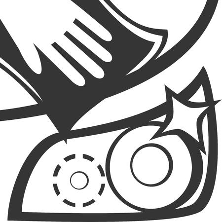Rag & Hand Clean - Car Hood & Headlight. Wax Detail Wash. Shine Buff Vehicle. Microfiber and Drying Towel. Sign Symbol for Automotive Clean Service. Glisten Fresh Transportation Job Care Work Illustration.