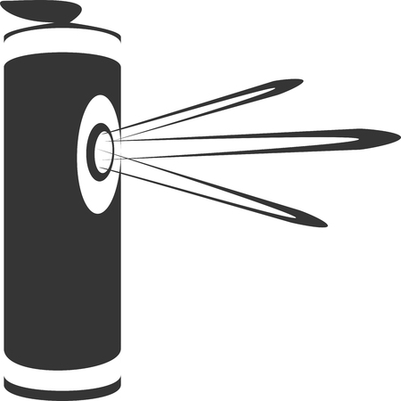 Emergency Protection Pepper Spray Mace. Vector Icon Shape. Sign or Symbol for Personal Safety and Self Defense. Illustration Spraying Eye Irritant Poison. Security Precaution. Rape and Crime Prevention.