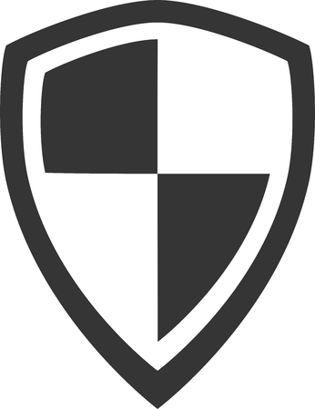 Guard Shield - Security Crest Symbol. Strong Minimal Banner, Button or Element for Firewall Protection, Secure Privacy Badge, Identity Protect, Virus Defense, Achievement Award, Honor Emblem, Warranty Guarantee, Safeguard Password or Armor Graphic