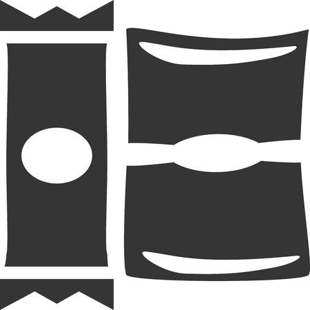 Candy - Granola Bar with Chips - Snack Bag. Segno / Menu Elemento per ristorante, bar, caffetteria, fast food, cena e concessione. Icona / Etichetta per pranzo, da portare e forniture per picnic. Design piatto, isolato, semplice stile cartoon. Involucro lucido di plastica / pellicola. Archivio Fotografico - 89168183