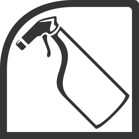 Window Glass Cleaner Creative Vector Icon Shape. Spray Bottle, Tilted, in Rounded Car Window. Sign for Supplies, Maintenance or Staff  Employees, House and Home Chores. Industry, Cleaning, Professional Label. Flat Isolated Object Illustration. Иллюстрация
