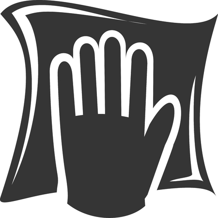 Cleaning Rag - Filled Hand Wiping. Clean Towel or Cloth Scrubbing Surface. House, Home, Office, Shop, or Professional Clean Service Supply  Supplies Sign, Logo, or Label. Drying, Sanitation or Wax, Chemical, Water, Oil, Polish Application. Shadow and Outline Silhouette Design.