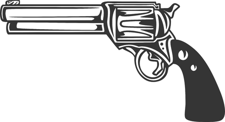 Detailed Gun - Revolver Pistol. Handgun for Personal Safety and Self Defense. Sign, Label or for Social Issues, Controversy, Police, Western, and Military Weapon Supply. Silhouette Vector Illustration Иллюстрация