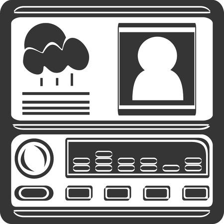 ラジオ カーナビのディスプレイとボタン。天気と縦断ドライバー ビューとダッシュ ボードのセンター コンソールとボリュームノブとボタン コント