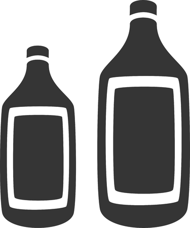 Two Bottles - Generic Plastic or Glass - Label Silhouette. Label, Sign or Icon for Medicine, Alcohol, Cleaner, Wine, Whiskey, Chemical, Water or Drink Supply. Container with Lid  Cap, Thin Lip and Neck, Broad  Wide Shoulder, Body and Base for Liquid.
