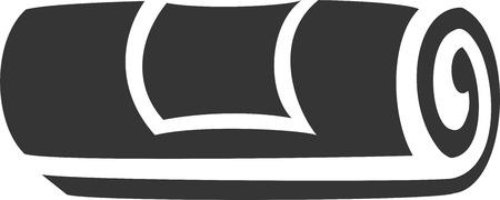 레이블이 수건 롤 크리 에이 티브 벡터 아이콘 모양입니다. 목욕, 카페트 또는 옷감, 마이크로 섬유, 매트, 요가 매트, 종이, 상점, 청소 또는 청소, 건조 일러스트