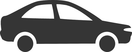 Simple Car - Sedan Silhouette. Sign or Element for Transportation, Vehicle Sales, Street  Road Travel Services and Accessories. Flat Minimal Icon Design for Auto, Ride, Taxi, Delivery, Rideshare, and Maintenance Repair Symbol or Label. Иллюстрация