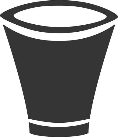 모호한 샷 유리 컵 꽃 냄비 쓰레기 수 크리 에이 티브 벡터 아이콘 모양입니다. 바 이벤트 파티  파티. 림과베이스 컷 아웃. 원예 및 식물. 간단한 오피 일러스트