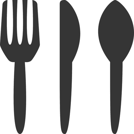 Cutlery - Silverware Icon Symbol. Flat, Isolated Fork, Knife and Spoon. Minimalist Design. Element for Restaurant  Diner Menu or Advertisement Sign. Label for Kitchen and Eating Utensil Supplies for Guests, Customers or Employees. Иллюстрация