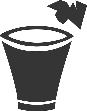 Trash Can Throw Away Creative Vector Icon Shape. Sign for Scrap Paper Dump. Home and Office Waste Bin. Small Crumpled Paper Thrown. Scratch Writings and Recycle. Cartoon Cutout Rim and Base. Junk Bucket.