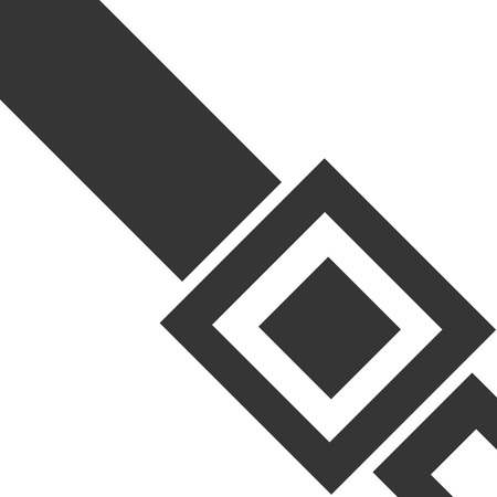 Simple Seat belt Symbol with Latch. Icon for Safety Driving and Passenger Warning Notice. Transportation Reminder for Law and Police Violation. Road Collision Accident Prevention. Safe Precaution. Иллюстрация