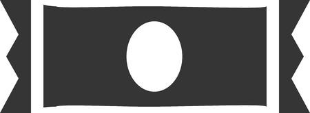 Candy - Granola Bar - Minimal Icon Element per Logo o Sign. Spuntino della proteina del dado di salute / Candy dolce nella siluetta isolata del pacchetto dell'involucro con l'etichetta ovale. Progettazione di oggetti d'imballaggio per la vendita al dettaglio. Simbolo di forniture di pic-nic prima colazione e pranzo. Amenità del cibo Archivio Fotografico - 89168326