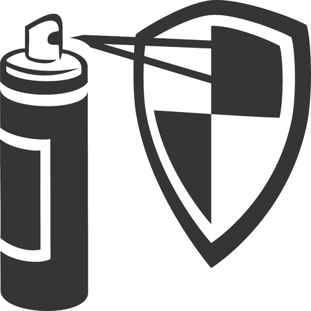 Spray Can Spraying Guard Shield - Stain, Carpet, Fabric Protect, Aerosol Spray Paint Enamel, Bug or Mosquito Defense, Bear Repellent, Deodorant, Hairspray Conditioner, Sunblock, Cleaner. Label and Armor.. Armor. Professional Home Maintenance Supplies Иллюстрация