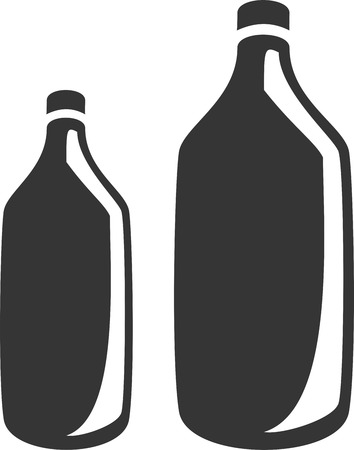 Two Bottles - Generic Plastic or Glass - Reflection Shadow. Label, Sign or Icon for Medicine, Alcohol, Cleaner, Wine, Whiskey, Chemical, Water or Drink Supply. Container with Lid  Cap, Thin Lip and Neck, Broad  Wide Shoulder, Body and Base for Liquid. Иллюстрация