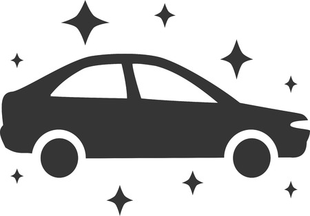 Car Wash - Dazzle New Shiny Clean. Sign, Symbol or  Element for Soap, Wax, Detail and Vehicle Maintenance Service. Flat Isolated Silhouette Illustration of Sudan and Sparkle Stars. Simple and Fresh Design.