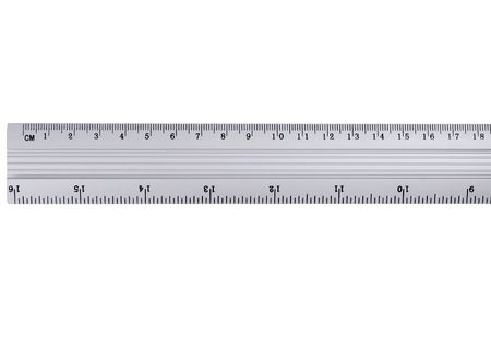 millimetre: Metal ruler on a white background.