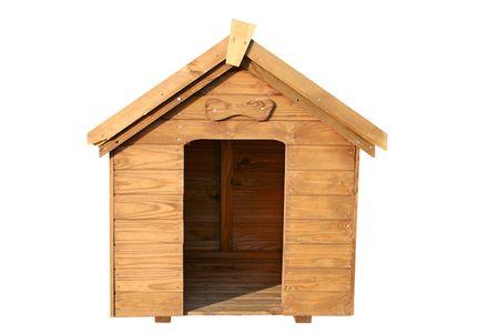 casa de perro: Una casa de madera perro con un hueso de madera sobre la puerta.