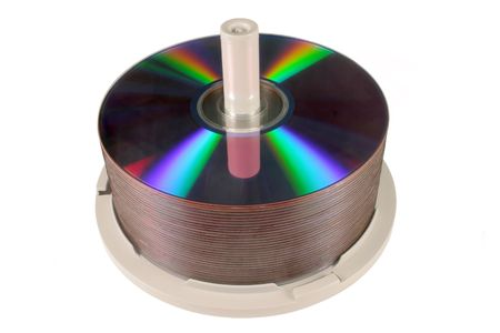DVDCD stack, isolated on a white background. photo