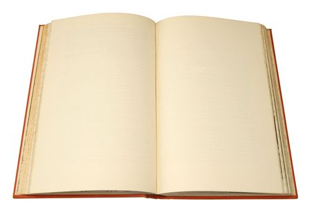 hardback: An old hardback book with pages ready for text.