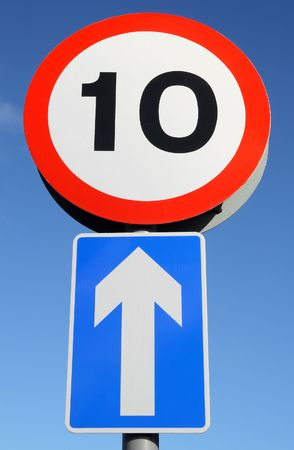 10 miles an hour sign and one way traffic sign. Stock Photo - 912691