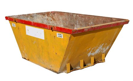 Old building site skip, isolated on a white background. Stock Photo - 912692