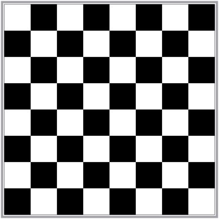 Illustration of a black and white chess board with 64 squares and a metallic look border illustration