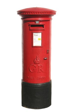 British red post box, isolated on a white background Stock Photo