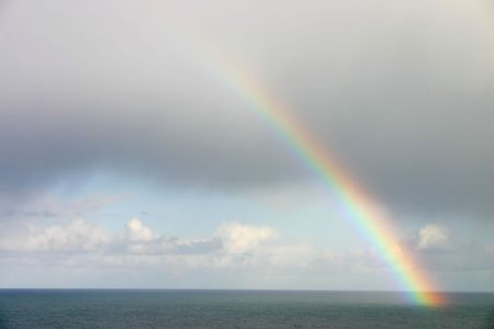 Natural rainbow over the sea, St. Ives, Cornwall. photo