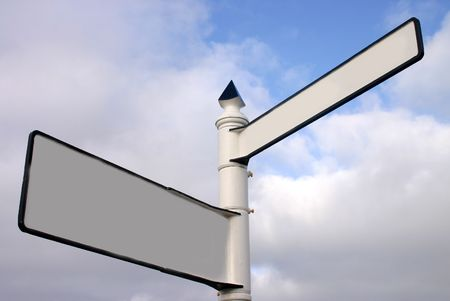 A blank two way signpost ready for text Stock Photo - 916304