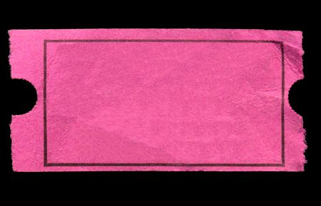 serrated: Blank pink admission ticket, isolated on a black background. Stock Photo