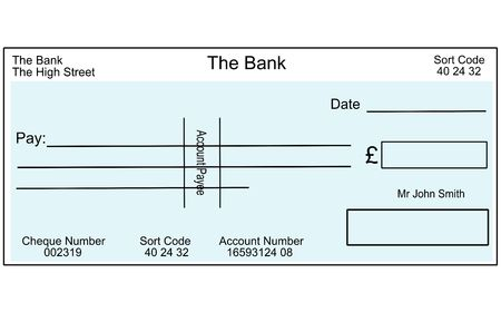 An illustration of a blank British cheque. illustration