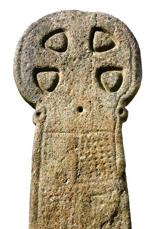 Ancient weathered Celtic cross, Cornwall, UK photo