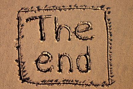 the end: The end, written on a beach.  Good for a holiday film ending.