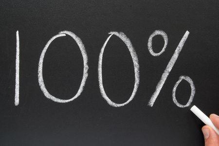 increment: Writing 100% on a blackboard.