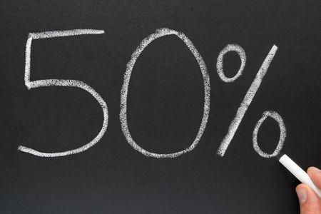 Writing 50% on a blackboard. Stock Photo - 920966