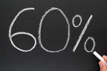 Writing 60% on a blackboard. photo